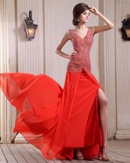 Sleeveless Charmeuse Chiffon Beading V-Neck Chapel Train Red Prom Dresses