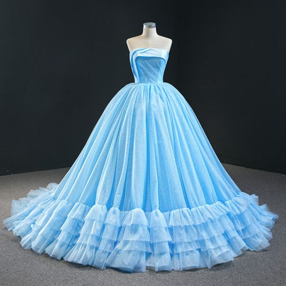 Luxury / Gorgeous Sky Blue Prom Dresses 2020 Ball Gown Strapless Sleeveless Glitter Tulle Court Train Ruffle Backless Formal Dresses