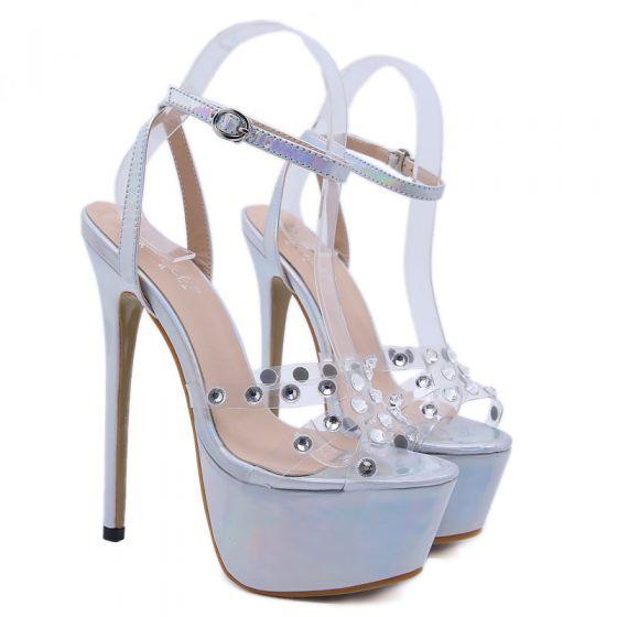Sexy Silber Cocktail Laser Sandalen Damen 2020 Strass Knöchelriemen 17 cm Stilettos Peeptoes Sandaletten