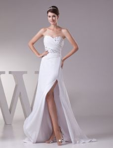 2015 Luxury Beaded Crystal Sweetheart Strapless Pleated Long Graduation Dress White Prom Dress