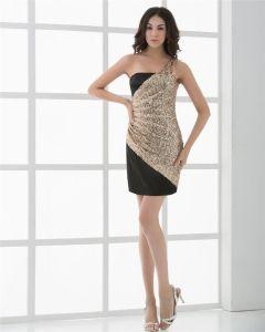 Soie Une Epaule Shortmini Femmes Robe De Cocktail Une Ligne Sexy