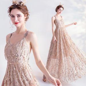Moda Złote Sukienki Wieczorowe 2020 Princessa Spaghetti Pasy Cekiny Kutas Bez Rękawów Bez Pleców Długie Sukienki Wizytowe