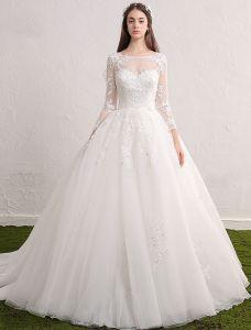 Robe De Mariée Princesse 2017 Encolure Dégagée Sequin Applique Dentelle Ruffle Tulle Robe De Mariée Avec Manches Longues