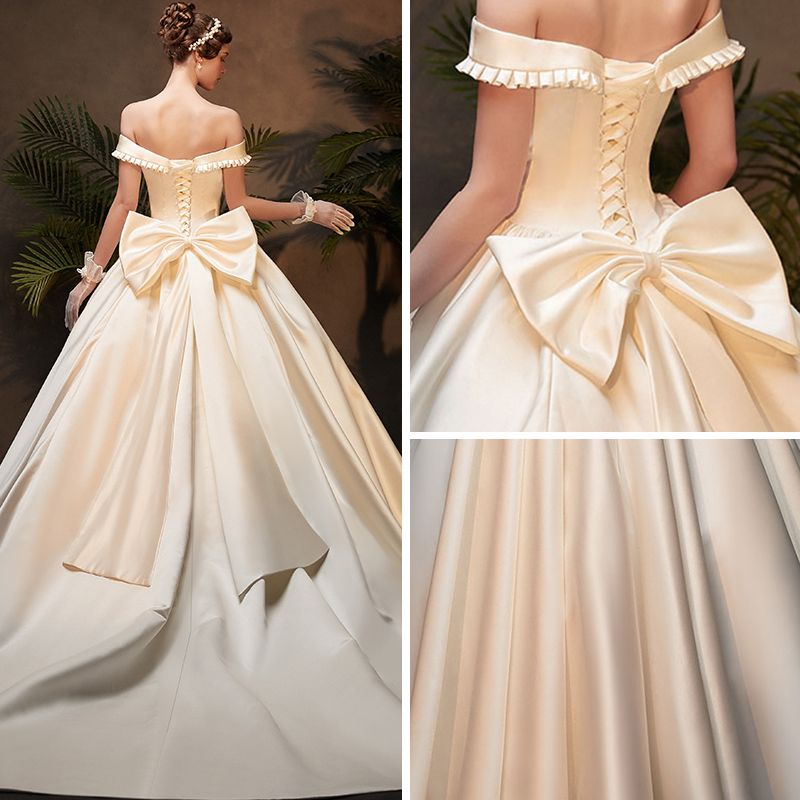 Vintage / Retro Ivory Satin Winter Wedding Dresses 2019 Ball Gown Off-The-Shoulder Short Sleeve Backless Bow Cathedral Train Ruffle