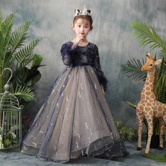 Elegant Navy Blue See-through Flower Girl Dresses 2019 A-Line / Princess Scoop Neck Long Sleeve Feather Sequins Pearl Beading Bow Sash Sweep Train Ruffle Backless Wedding Party Dresses
