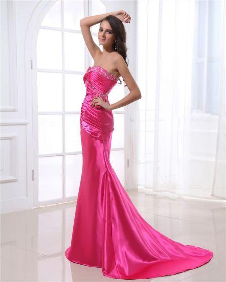 0b86ab3d97 Vestidos De Noche Mujer Charmeuse Plisada Escote Palabra De Honor Hasta El  Suelo Sin Mangas De Abalorios