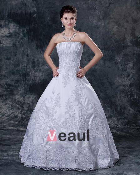 Satin Applikasjon Beading Krusning Stroppelos Feie Brude Ball Kjole Brudekjoler Bryllupskjoler