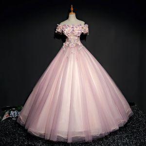 Piękne Różowy Perłowy Sukienki Na Bal 2017 Suknia Balowa Z Koronki Kwiat Perła Rhinestone Przy Ramieniu Bez Pleców Kótkie Rękawy Długość Kostki Sukienki Wizytowe