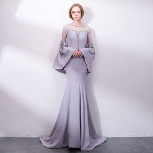 Amazing / Unique Grey Evening Dresses  2018 Trumpet / Mermaid Sequins Scoop Neck Long Sleeve Sweep Train Formal Dresses