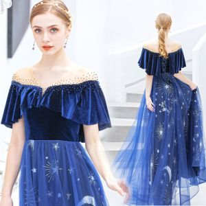 Chic / Beautiful Royal Blue Evening Dresses  2019 A-Line / Princess Suede V-Neck Star Sequins Rhinestone Short Sleeve Backless Ankle Length Formal Dresses