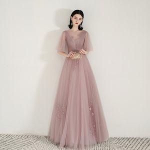 Chic / Belle Perle Rose Transparentes Robe De Soirée 2020 Princesse Encolure Carrée 1/2 Manches Appliques En Dentelle Longue Volants Dos Nu Robe De Ceremonie