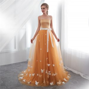 Chic / Beautiful Orange Prom Dresses 2019 A-Line / Princess Spaghetti Straps Appliques Butterfly Bow Sleeveless Backless Sweep Train Formal Dresses