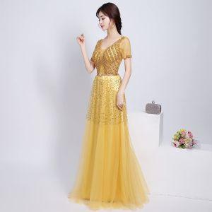 Schöne Glitzernden Gold Abendkleider 2017 A Linie V-Ausschnitt Spitze Rückenfreies Perlenstickerei Strass Handgefertigt Abend Partykleider