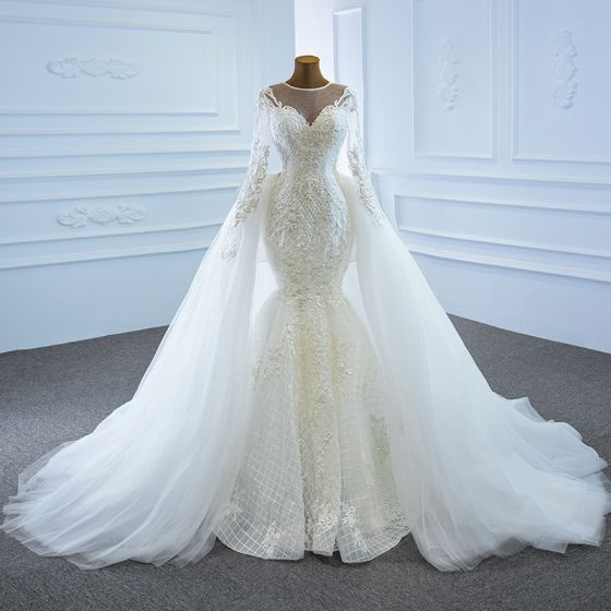 Luxury / Gorgeous White Bridal Wedding Dresses 2020 Ball Gown See-through Scoop Neck Long Sleeve Appliques Lace Beading Pearl Detachable Chapel Train Ruffle