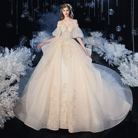 Victorian Style Champagne Bridal Wedding Dresses 2020 Ball Gown Off-The-Shoulder Puffy 1/2 Sleeves Backless Appliques Lace Beading Glitter Tulle Cathedral Train Ruffle
