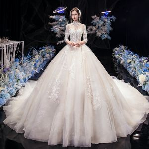 Vintage / Retro Champagne See-through Bridal Wedding Dresses 2020 Ball Gown High Neck 3/4 Sleeve Backless Appliques Lace Beading Cathedral Train Ruffle