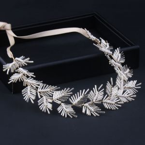 Elegant Gold Headbands Bridal Hair Accessories 2020 Alloy Lace-up Pearl Beading Headpieces Wedding Accessories