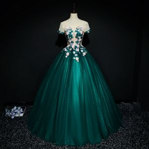 Chic / Beautiful Dark Green Prom Dresses 2017 Ball Gown Lace Flower Artificial Flowers Beading Scoop Neck Backless Short Sleeve Floor-Length / Long Formal Dresses