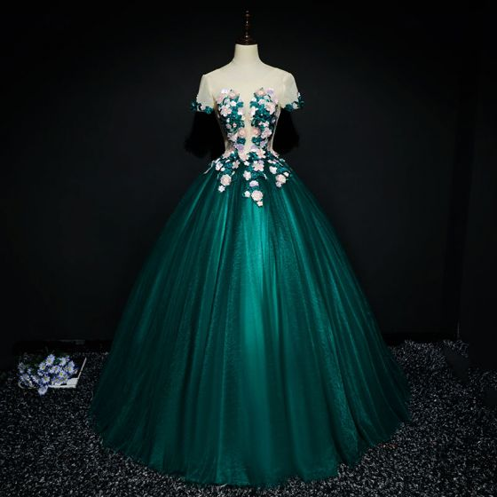 Chic / Beautiful Dark Green Prom Dresses 2017 Ball Gown Lace Flower ...