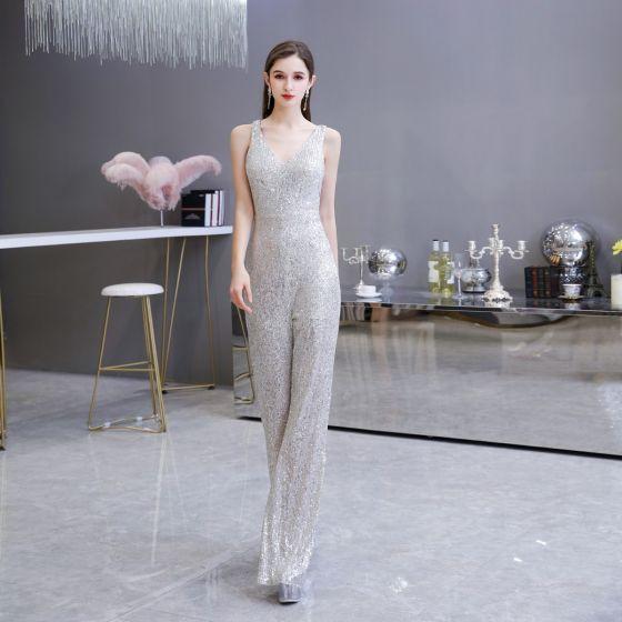 Sparkly Silver Sequins Jumpsuit 2020 V-Neck Sleeveless Floor-Length / Long Backless Formal Dresses