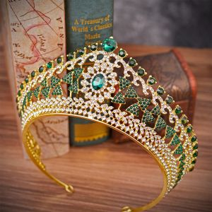 Classic Dark Green Rhinestone Tiara Bridal Hair Accessories 2020 Alloy Wedding Accessories