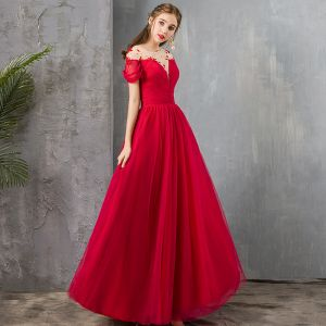 Elegant Red See-through Evening Dresses  2019 A-Line / Princess Square Neckline Short Sleeve Beading Floor-Length / Long Ruffle Backless Formal Dresses