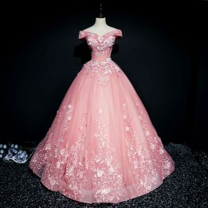 Chic / Beautiful Candy Pink Prom Dresses 2017 Ball Gown Lace Flower Pearl Sequins Off-The-Shoulder Backless Short Sleeve Floor-Length / Long Formal Dresses
