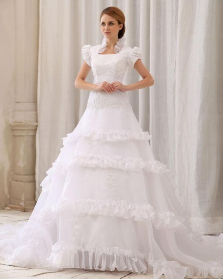 Elegant Solid Ruffle Lacework Applique Beading A-Line Square Neck Back Zipper Court Train Satin Gauze Lace Wedding Dress