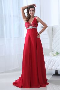 2015 A-line V-neck Natural Classic red Evening Dresses