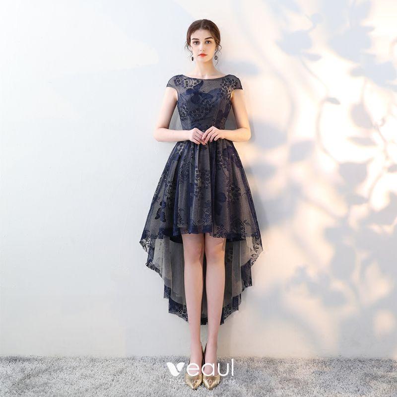 Elegantes Marino Oscuro Vestidos De Cóctel 2018 A Line Princess De Encaje Scoop Escote Sin Espalda Asimétrico Vestidos Formales