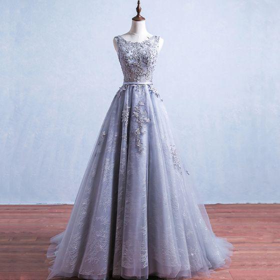 Elegante Grau Ballkleider 2017 Applikationen Spitze Ärmellos Rückenfreies Stoffgürtel Rüschen Tülle Festliche Kleider