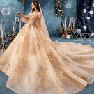 Best Champagne Lace Wedding Dresses 2019 Ball Gown Off-The-Shoulder Puffy 3/4 Sleeve Backless Beading Rhinestone Cathedral Train Ruffle