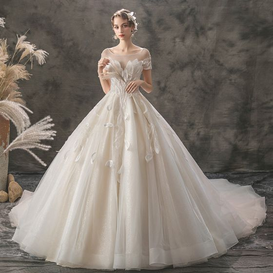 Romantic Champagne See-through Wedding Dresses 2019 A-Line / Princess Square Neckline Short Sleeve Backless Appliques Lace Beading Glitter Tulle Cathedral Train Ruffle