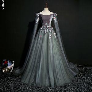 Eleganta Grå Balklänningar 2019 Prinsessa Urringning Paljetter Spets Blomma Långärmad Halterneck Långa Formella Klänningar