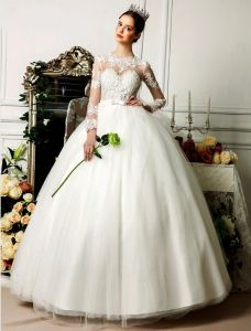 2015 Pierced Shoulders 3/4 Sleeves Appliques Lace Flowers Satin Sash Organza Wedding Dress