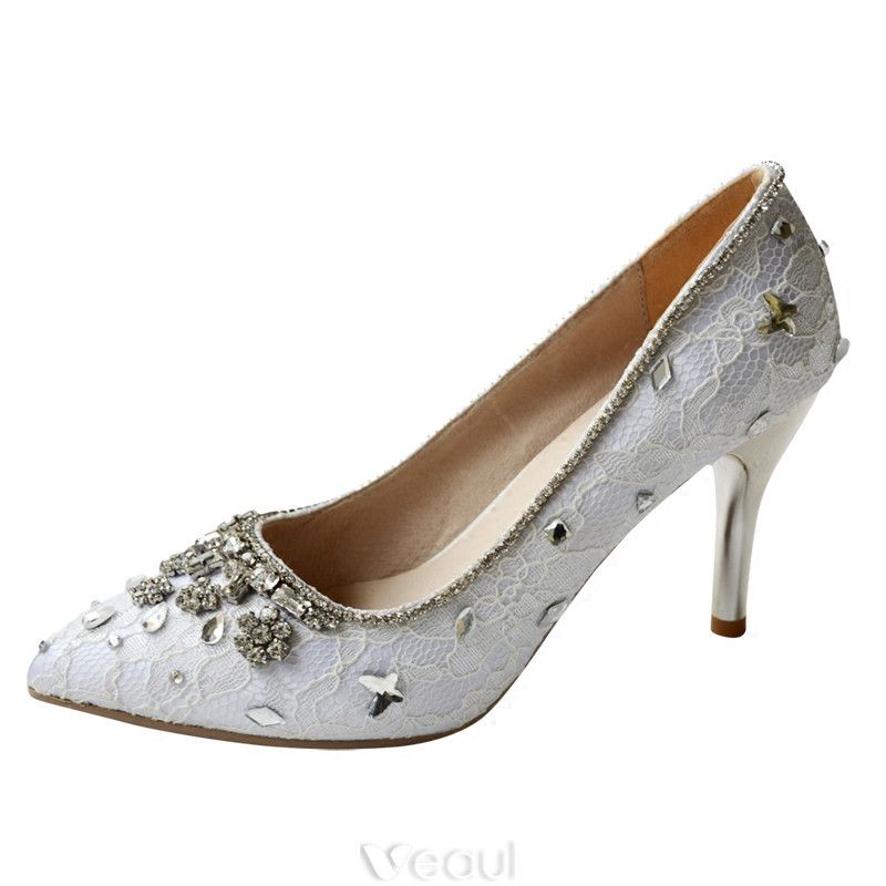 Handmade Wedding Shoes 2017 Lace And Beading Rhinestones 8cm Bridal Shoes