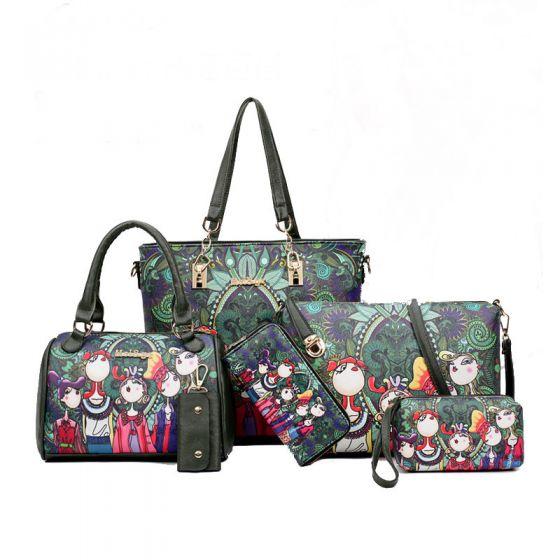 6 piezas Multi-Colors Lujoso Bolsas de hombro Bolso Bolsa de mensajero Billetera Bolso Llavero 2021 Caricatura Impresión PU Bolsos de mujer