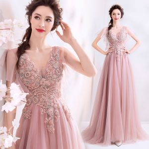 Elegant Pearl Pink Prom Dresses 2019 A-Line / Princess Beading Pearl Lace Flower V-Neck Short Sleeve Backless Floor-Length / Long Formal Dresses