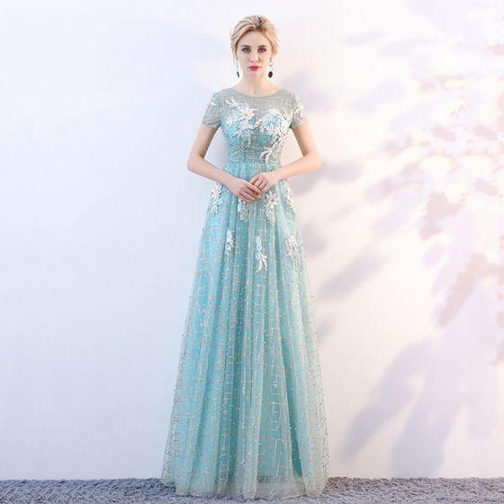 Snygga   Fina Blå Genomskinliga Aftonklänningar 2018 Prinsessa Urringning  Korta ärm Glittriga   Glitter Tyll Appliqués Blomma Långa ... 8ad5e926907b0