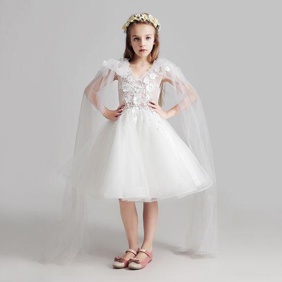a844606a49 Piękne Białe Sukienki Dla Dziewczynek 2017 Suknia Balowa V-Szyja Bez  Rękawów Aplikacje Z Koronki Kwiat ...