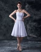 Charming Satin Yarn Beading Sweetheart Short Bridal Gown Wedding Dress