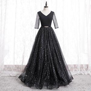 Mode Svarta Balklänningar 2020 Prinsessa V-Hals Stjärna Paljetter Rhinestone 3/4 ärm Halterneck Långa Formella Klänningar