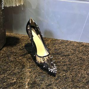 Sexet Sorte Selskabs Pumps 2019 Med Blonder Nitte 10 cm / 4 inch Stiletter Spidse Tå Pumps