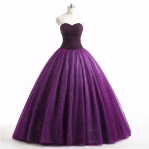 Vintage / Retro Grape Prom Dresses 2017 Sweetheart Sleeveless Beading Backless Glitter Ruffle Tulle Floor-Length / Long Ball Gown Formal Dresses