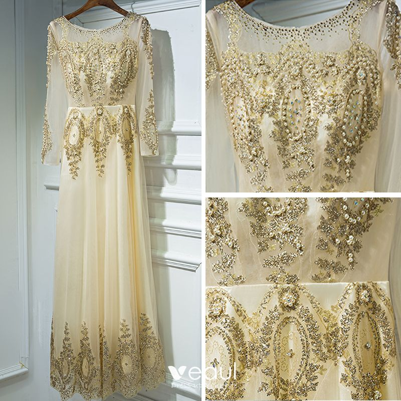 Chic / Beautiful Gold Formal Dresses Evening Dresses  2017 Lace Flower Sequins Pearl Ankle Length Scoop Neck Long Sleeve A-Line / Princess