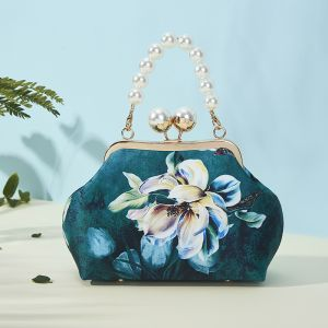 Vintage / Retro Chinese style Dark Green Clutch Bags 2020 Metal Printing Flower Polyester