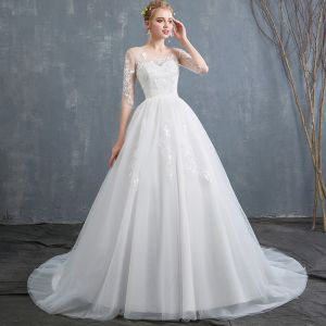 Affordable Ivory Wedding Dresses 2019 A-Line / Princess Scoop Neck Lace Flower 1/2 Sleeves Backless Court Train