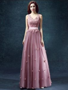 2015 A-line Shoulders V-neck Handmade Flower Appliques Lace Sash Prom Dress
