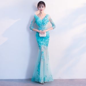 Modern / Fashion Pool Blue See-through Summer Evening Dresses  2018 Trumpet / Mermaid V-Neck 3/4 Sleeve Lace Appliques Flower Pearl Floor-Length / Long Ruffle Backless Formal Dresses