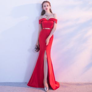 Chic / Beautiful Red Evening Dresses  2017 Glitter A-Line / Princess Backless Lace Chiffon Strapless Evening Party Formal Dresses